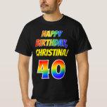 [ Thumbnail: 40th Birthday — Bold, Fun, Rainbow 40, Custom Name T-Shirt ]
