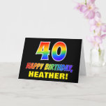 [ Thumbnail: 40th Birthday: Bold, Fun, Simple, Rainbow 40 Card ]