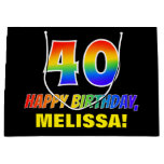 [ Thumbnail: 40th Birthday: Bold, Fun, Simple, Rainbow 40 Gift Bag ]