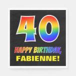 [ Thumbnail: 40th Birthday: Bold, Fun, Simple, Rainbow 40 Napkins ]