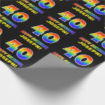 [ Thumbnail: 40th Birthday: Bold, Fun, Simple, Rainbow 40 Wrapping Paper ]