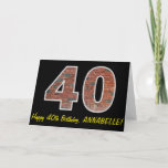 "[ Thumbnail: 40th Birthday - Brick Wall Pattern ""40"" W/ Name Card ]"