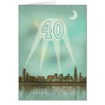 40th Birthday card with a city and spotlights