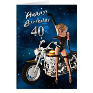 40th Birthday card with a motorbike