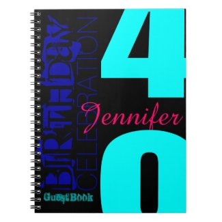 40th Birthday Celebration POP Custom guest Book Spiral Notebook