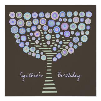 40th Birthday Chocolate Mauve Tree Invitation