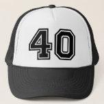 "40th Birthday Classic Trucker Hat<br><div class=""desc"">Classic 40th Birthday Hat with Black number Forty</div>"