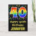 [ Thumbnail: 40th Birthday: Colorful Music Symbols + Rainbow 40 Card ]