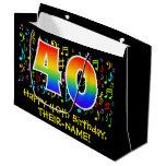 [ Thumbnail: 40th Birthday - Colorful Music Symbols, Rainbow 40 Gift Bag ]