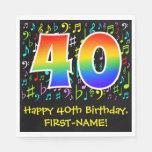 [ Thumbnail: 40th Birthday - Colorful Music Symbols, Rainbow 40 Napkins ]