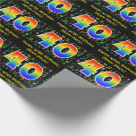 [ Thumbnail: 40th Birthday: Colorful Music Symbols, Rainbow 40 Wrapping Paper ]