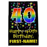 [ Thumbnail: 40th Birthday: Colorful Stars Pattern & Rainbow 40 Gift Bag ]