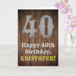 [ Thumbnail: 40th Birthday: Country Western Inspired Look, Name Card ]