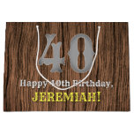[ Thumbnail: 40th Birthday: Country Western Inspired Look, Name Gift Bag ]