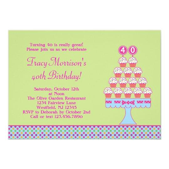40th Birthday Cupcakes Invitation