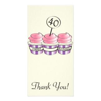 40th Birthday Cupcakes Customized Photo Card