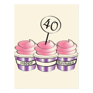 40th Birthday Cupcakes Postcard