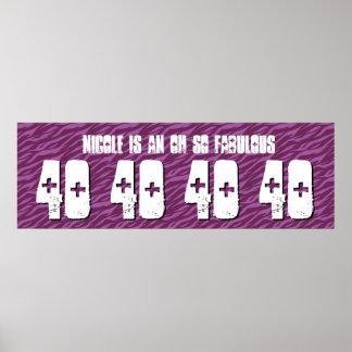 40th Birthday Custom Banner Purple Zebra V15 Poster