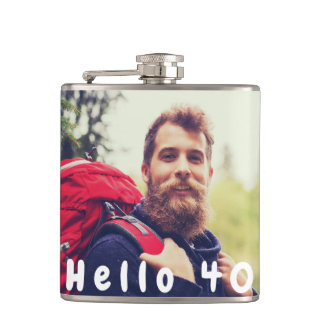40th birthday custom photo hello 40 for guys flask
