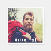 40th birthday custom photo hello 40 for guys napkin