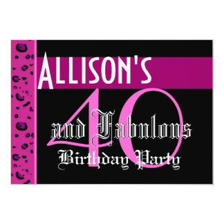 40th Birthday Custom Template - Leopard Pink Black Card