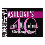 40th Birthday Custom Template - Zebra Pink Black 5x7 Paper Invitation Card