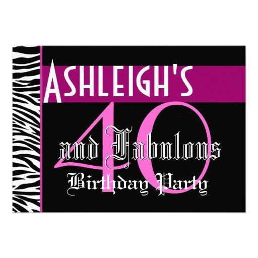 40th Birthday Custom Template - Zebra Pink Black Personalized Invitations