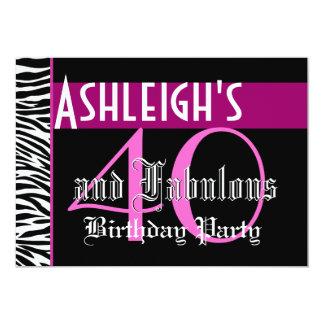 40th Birthday Custom Template - Zebra Pink Black Custom Announcements