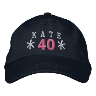 40th Birthday Custom WHITE PINK Embroidery A03 Cap