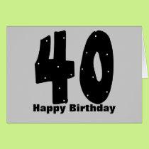 40th Birthday (customizable) Card