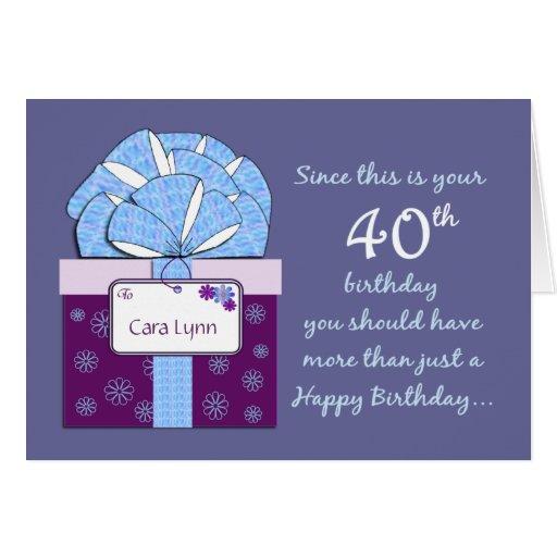 40th Birthday Customizable Card