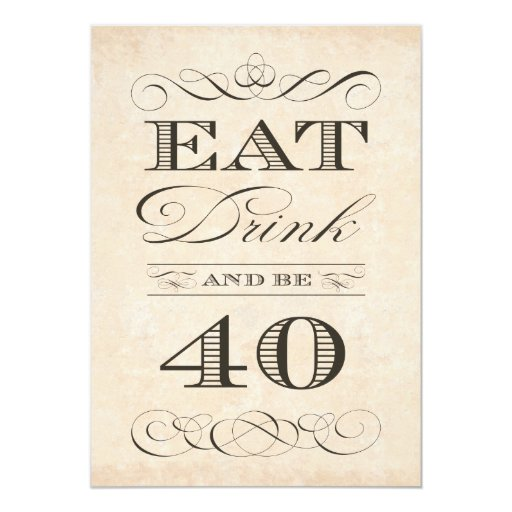 40th Birthday Dinner Ideas: 40th Birthday Dinner Party Eat Drink And Be 40 Card