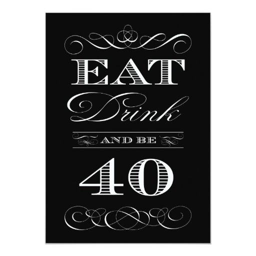 40th Birthday Dinner Ideas: 40th Birthday Dinner Party Eat Drink And Be Merry Card