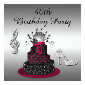 40th Birthday Disco Diva Cake and Sparkle Heels Card