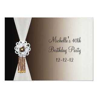 40th Birthday Elegant Black Cream Bead Jewel Card