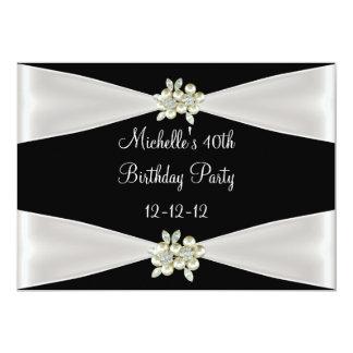 40th Birthday Elegant Black Cream Pearl Jewel Card