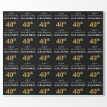 [ Thumbnail: 40th Birthday: Elegant, Black, Faux Gold Look Wrapping Paper ]