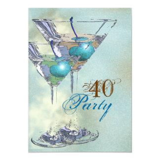 40th birthday elegant blue brown custom invite