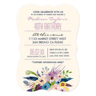 40th Birthday Elegant Bouquet Card