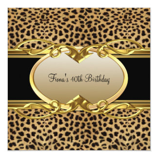 40th Birthday Elegant Classy Gold Black Leopard Invitations