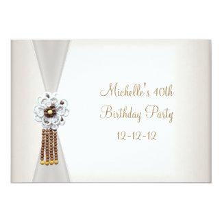 40th Birthday Elegant Cream White Bead Jewel Card