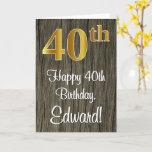 [ Thumbnail: 40th Birthday: Elegant Faux Gold Look #, Faux Wood Card ]
