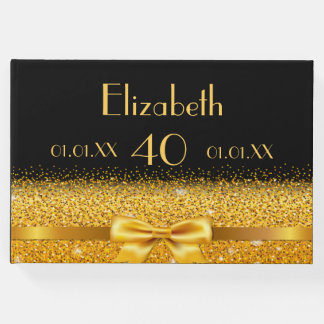 40th birthday elegant gold bow and ribbon on black guest book
