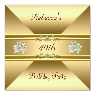 40th Birthday Elegant Gold Pearl Jewels Invite