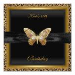 40th Birthday Elegant Leopard Gold Butterfly Card