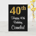 [ Thumbnail: 40th Birthday ~ Elegant Luxurious Faux Gold Look # Card ]