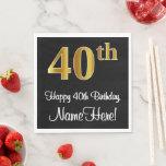 [ Thumbnail: 40th Birthday ~ Elegant Luxurious Faux Gold Look # Napkins ]
