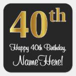 [ Thumbnail: 40th Birthday – Elegant Luxurious Faux Gold Look # Sticker ]