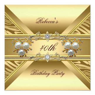 40th Birthday Elegant Zebra Gold Pearl Jewels Card