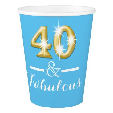 Beach Themed 40th birthday fabulous blue gold paper cup